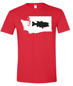 Short Sleeve T-Shirt Washington Red Large Mouth Bass Vibrant Design High Quality Tight Knit Ring Spun Low Maintenance Cotton Printed With The Newest Available Color Transfer Technology