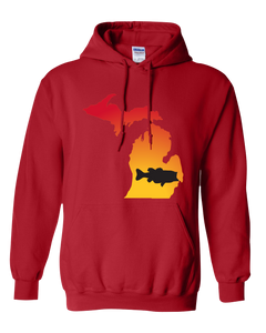 Pullover Hooded Sweatshirt Michigan Red Large Mouth Bass Vibrant Design High Quality Tight Knit Ring Spun Low Maintenance Cotton Printed With The Newest Available Color Transfer Technology