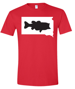 Short Sleeve T-Shirt South Dakota Red Large Mouth Bass Vibrant Design High Quality Tight Knit Ring Spun Low Maintenance Cotton Printed With The Newest Available Color Transfer Technology