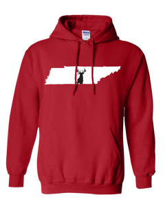 Pullover Hooded Sweatshirt Tennessee Red Whitetail Deer Vibrant Design High Quality Tight Knit Ring Spun Low Maintenance Cotton Printed With The Newest Available Color Transfer Technology