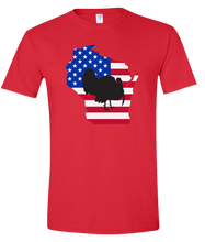 Load image into Gallery viewer, Short Sleeve T-Shirt Wisconsin Red Turkey Vibrant Design High Quality Tight Knit Ring Spun Low Maintenance Cotton Printed With The Newest Available Color Transfer Technology