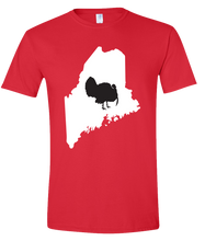 Load image into Gallery viewer, Short Sleeve T-Shirt Maine Red Turkey Vibrant Design High Quality Tight Knit Ring Spun Low Maintenance Cotton Printed With The Newest Available Color Transfer Technology