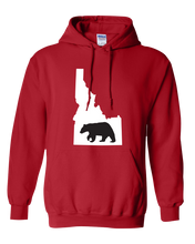 Load image into Gallery viewer, Pullover Hooded Sweatshirt Idaho Red Black Bear Vibrant Design High Quality Tight Knit Ring Spun Low Maintenance Cotton Printed With The Newest Available Color Transfer Technology