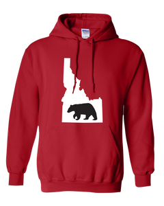 Pullover Hooded Sweatshirt Idaho Red Black Bear Vibrant Design High Quality Tight Knit Ring Spun Low Maintenance Cotton Printed With The Newest Available Color Transfer Technology