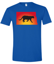 Load image into Gallery viewer, Short Sleeve T-Shirt North Dakota Royal Mountain Lion Vibrant Design High Quality Tight Knit Ring Spun Low Maintenance Cotton Printed With The Newest Available Color Transfer Technology
