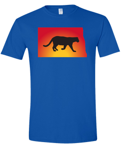 Short Sleeve T-Shirt North Dakota Royal Mountain Lion Vibrant Design High Quality Tight Knit Ring Spun Low Maintenance Cotton Printed With The Newest Available Color Transfer Technology