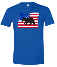 Load image into Gallery viewer, Short Sleeve T-Shirt Oregon Royal Black Bear Vibrant Design High Quality Tight Knit Ring Spun Low Maintenance Cotton Printed With The Newest Available Color Transfer Technology