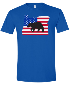 Short Sleeve T-Shirt Oregon Royal Black Bear Vibrant Design High Quality Tight Knit Ring Spun Low Maintenance Cotton Printed With The Newest Available Color Transfer Technology