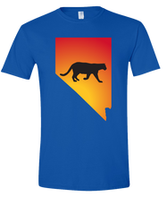 Load image into Gallery viewer, Short Sleeve T-Shirt Nevada Royal Mountain Lion Vibrant Design High Quality Tight Knit Ring Spun Low Maintenance Cotton Printed With The Newest Available Color Transfer Technology