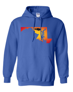 Pullover Hooded Sweatshirt Maryland Royal Large Mouth Bass Vibrant Design High Quality Tight Knit Ring Spun Low Maintenance Cotton Printed With The Newest Available Color Transfer Technology