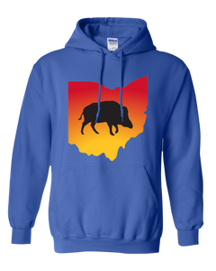 Pullover Hooded Sweatshirt Ohio Royal Wild Hog Vibrant Design High Quality Tight Knit Ring Spun Low Maintenance Cotton Printed With The Newest Available Color Transfer Technology