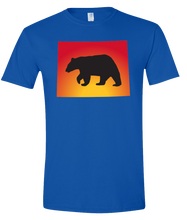 Load image into Gallery viewer, Short Sleeve T-Shirt Wyoming Royal Black Bear Vibrant Design High Quality Tight Knit Ring Spun Low Maintenance Cotton Printed With The Newest Available Color Transfer Technology