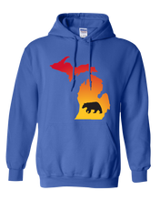 Load image into Gallery viewer, Pullover Hooded Sweatshirt Michigan Royal Black Bear Vibrant Design High Quality Tight Knit Ring Spun Low Maintenance Cotton Printed With The Newest Available Color Transfer Technology