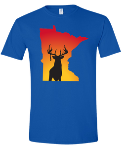 Short Sleeve T-Shirt Minnesota Royal Whitetail Deer Vibrant Design High Quality Tight Knit Ring Spun Low Maintenance Cotton Printed With The Newest Available Color Transfer Technology