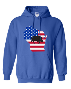 Pullover Hooded Sweatshirt Wisconsin Royal Wild Hog Vibrant Design High Quality Tight Knit Ring Spun Low Maintenance Cotton Printed With The Newest Available Color Transfer Technology
