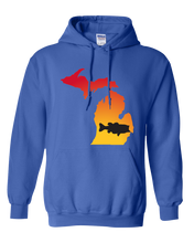 Load image into Gallery viewer, Pullover Hooded Sweatshirt Michigan Royal Large Mouth Bass Vibrant Design High Quality Tight Knit Ring Spun Low Maintenance Cotton Printed With The Newest Available Color Transfer Technology