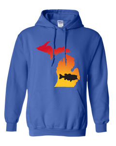Pullover Hooded Sweatshirt Michigan Royal Large Mouth Bass Vibrant Design High Quality Tight Knit Ring Spun Low Maintenance Cotton Printed With The Newest Available Color Transfer Technology