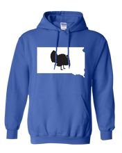 Load image into Gallery viewer, Pullover Hooded Sweatshirt South Dakota Royal Turkey Vibrant Design High Quality Tight Knit Ring Spun Low Maintenance Cotton Printed With The Newest Available Color Transfer Technology
