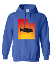 Load image into Gallery viewer, Pullover Hooded Sweatshirt Utah Royal Large Mouth Bass Vibrant Design High Quality Tight Knit Ring Spun Low Maintenance Cotton Printed With The Newest Available Color Transfer Technology