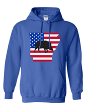 Load image into Gallery viewer, Pullover Hooded Sweatshirt Arkansas Royal Wild Hog Vibrant Design High Quality Tight Knit Ring Spun Low Maintenance Cotton Printed With The Newest Available Color Transfer Technology