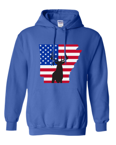 Pullover Hooded Sweatshirt Arkansas Royal Whitetail Deer Vibrant Design High Quality Tight Knit Ring Spun Low Maintenance Cotton Printed With The Newest Available Color Transfer Technology