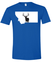 Load image into Gallery viewer, Short Sleeve T-Shirt Montana Royal Elk Vibrant Design High Quality Tight Knit Ring Spun Low Maintenance Cotton Printed With The Newest Available Color Transfer Technology