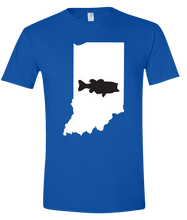 Load image into Gallery viewer, Short Sleeve T-Shirt Indiana Royal Large Mouth Bass Vibrant Design High Quality Tight Knit Ring Spun Low Maintenance Cotton Printed With The Newest Available Color Transfer Technology