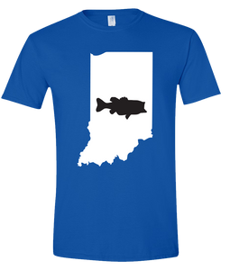Short Sleeve T-Shirt Indiana Royal Large Mouth Bass Vibrant Design High Quality Tight Knit Ring Spun Low Maintenance Cotton Printed With The Newest Available Color Transfer Technology
