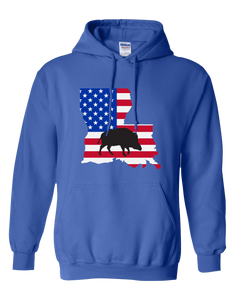 Pullover Hooded Sweatshirt Louisiana Royal Wild Hog Vibrant Design High Quality Tight Knit Ring Spun Low Maintenance Cotton Printed With The Newest Available Color Transfer Technology