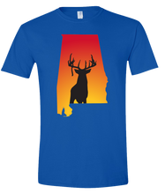 Load image into Gallery viewer, Short Sleeve T-Shirt Alabama Royal Whitetail Deer Vibrant Design High Quality Tight Knit Ring Spun Low Maintenance Cotton Printed With The Newest Available Color Transfer Technology