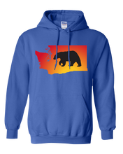 Load image into Gallery viewer, Pullover Hooded Sweatshirt Washington Royal Black Bear Vibrant Design High Quality Tight Knit Ring Spun Low Maintenance Cotton Printed With The Newest Available Color Transfer Technology