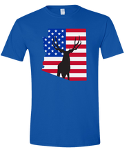 Load image into Gallery viewer, Short Sleeve T-Shirt Arizona Royal Mule Deer Vibrant Design High Quality Tight Knit Ring Spun Low Maintenance Cotton Printed With The Newest Available Color Transfer Technology