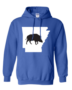 Pullover Hooded Sweatshirt Arkansas Royal Wild Hog Vibrant Design High Quality Tight Knit Ring Spun Low Maintenance Cotton Printed With The Newest Available Color Transfer Technology