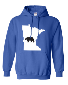 Pullover Hooded Sweatshirt Minnesota Royal Black Bear Vibrant Design High Quality Tight Knit Ring Spun Low Maintenance Cotton Printed With The Newest Available Color Transfer Technology