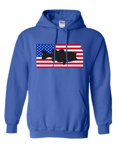 Pullover Hooded Sweatshirt Kansas Royal Large Mouth Bass Vibrant Design High Quality Tight Knit Ring Spun Low Maintenance Cotton Printed With The Newest Available Color Transfer Technology
