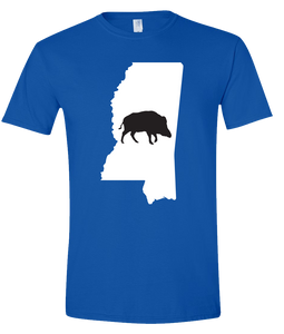 Short Sleeve T-Shirt Mississippi Royal Wild Hog Vibrant Design High Quality Tight Knit Ring Spun Low Maintenance Cotton Printed With The Newest Available Color Transfer Technology