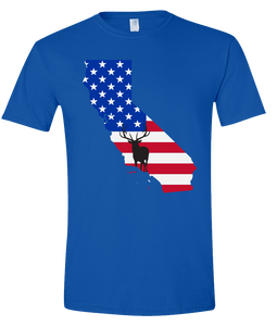 Short Sleeve T-Shirt California Royal Elk Vibrant Design High Quality Tight Knit Ring Spun Low Maintenance Cotton Printed With The Newest Available Color Transfer Technology