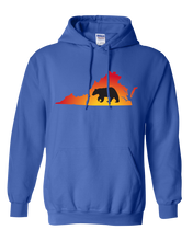 Load image into Gallery viewer, Pullover Hooded Sweatshirt Virginia Royal Black Bear Vibrant Design High Quality Tight Knit Ring Spun Low Maintenance Cotton Printed With The Newest Available Color Transfer Technology