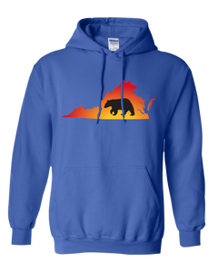 Pullover Hooded Sweatshirt Virginia Royal Black Bear Vibrant Design High Quality Tight Knit Ring Spun Low Maintenance Cotton Printed With The Newest Available Color Transfer Technology