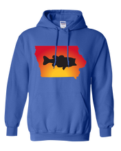 Load image into Gallery viewer, Pullover Hooded Sweatshirt Iowa Royal Large Mouth Bass Vibrant Design High Quality Tight Knit Ring Spun Low Maintenance Cotton Printed With The Newest Available Color Transfer Technology