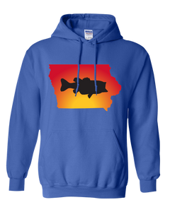 Pullover Hooded Sweatshirt Iowa Royal Large Mouth Bass Vibrant Design High Quality Tight Knit Ring Spun Low Maintenance Cotton Printed With The Newest Available Color Transfer Technology