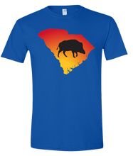 Load image into Gallery viewer, Short Sleeve T-Shirt South Carolina Royal Wild Hog Vibrant Design High Quality Tight Knit Ring Spun Low Maintenance Cotton Printed With The Newest Available Color Transfer Technology