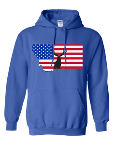 Pullover Hooded Sweatshirt Montana Royal Mule Deer Vibrant Design High Quality Tight Knit Ring Spun Low Maintenance Cotton Printed With The Newest Available Color Transfer Technology