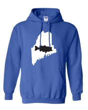 Load image into Gallery viewer, Pullover Hooded Sweatshirt Maine Royal Large Mouth Bass Vibrant Design High Quality Tight Knit Ring Spun Low Maintenance Cotton Printed With The Newest Available Color Transfer Technology