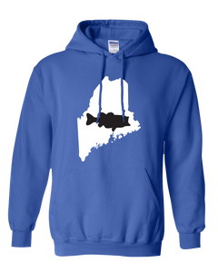Pullover Hooded Sweatshirt Maine Royal Large Mouth Bass Vibrant Design High Quality Tight Knit Ring Spun Low Maintenance Cotton Printed With The Newest Available Color Transfer Technology