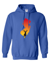 Load image into Gallery viewer, Pullover Hooded Sweatshirt New Jersey Royal Whitetail Deer Vibrant Design High Quality Tight Knit Ring Spun Low Maintenance Cotton Printed With The Newest Available Color Transfer Technology