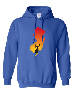 Pullover Hooded Sweatshirt New Jersey Royal Whitetail Deer Vibrant Design High Quality Tight Knit Ring Spun Low Maintenance Cotton Printed With The Newest Available Color Transfer Technology