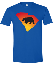Load image into Gallery viewer, Short Sleeve T-Shirt South Carolina Royal Black Bear Vibrant Design High Quality Tight Knit Ring Spun Low Maintenance Cotton Printed With The Newest Available Color Transfer Technology