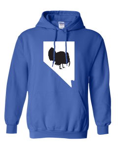 Pullover Hooded Sweatshirt Nevada Royal Turkey Vibrant Design High Quality Tight Knit Ring Spun Low Maintenance Cotton Printed With The Newest Available Color Transfer Technology