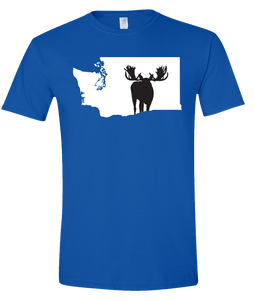 Short Sleeve T-Shirt Washington Royal Moose Vibrant Design High Quality Tight Knit Ring Spun Low Maintenance Cotton Printed With The Newest Available Color Transfer Technology